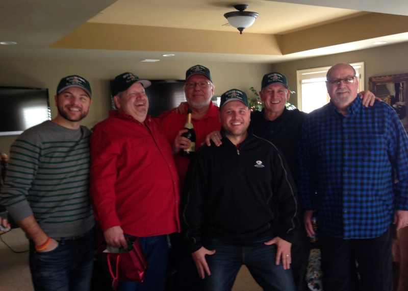 The Krass men stoked about their new hats from Aunt Elaine
