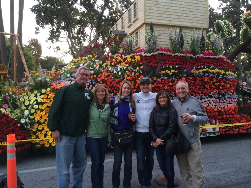 Mr. and Mrs. DeSantis, me and Jeff, Chris and Bob on the walk to the Rose Parade