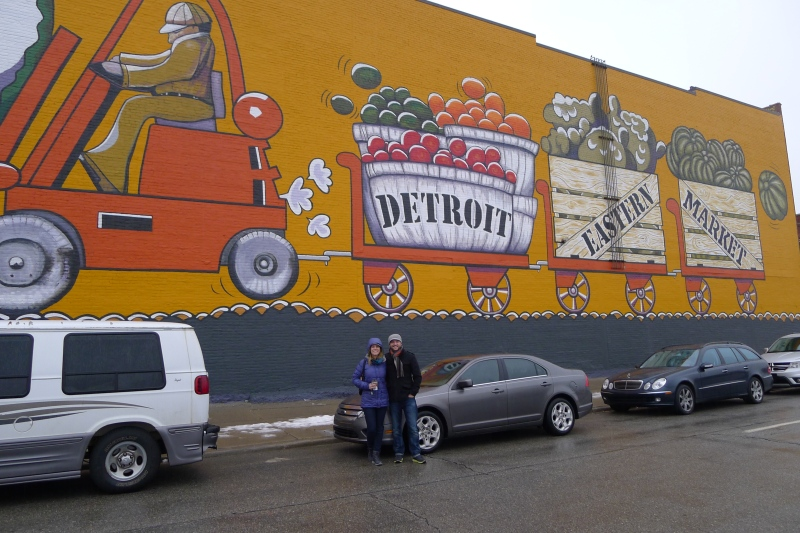 Admiring the brand new mural on our annual, pre-Christmas visit to the Detroit Eastern Market