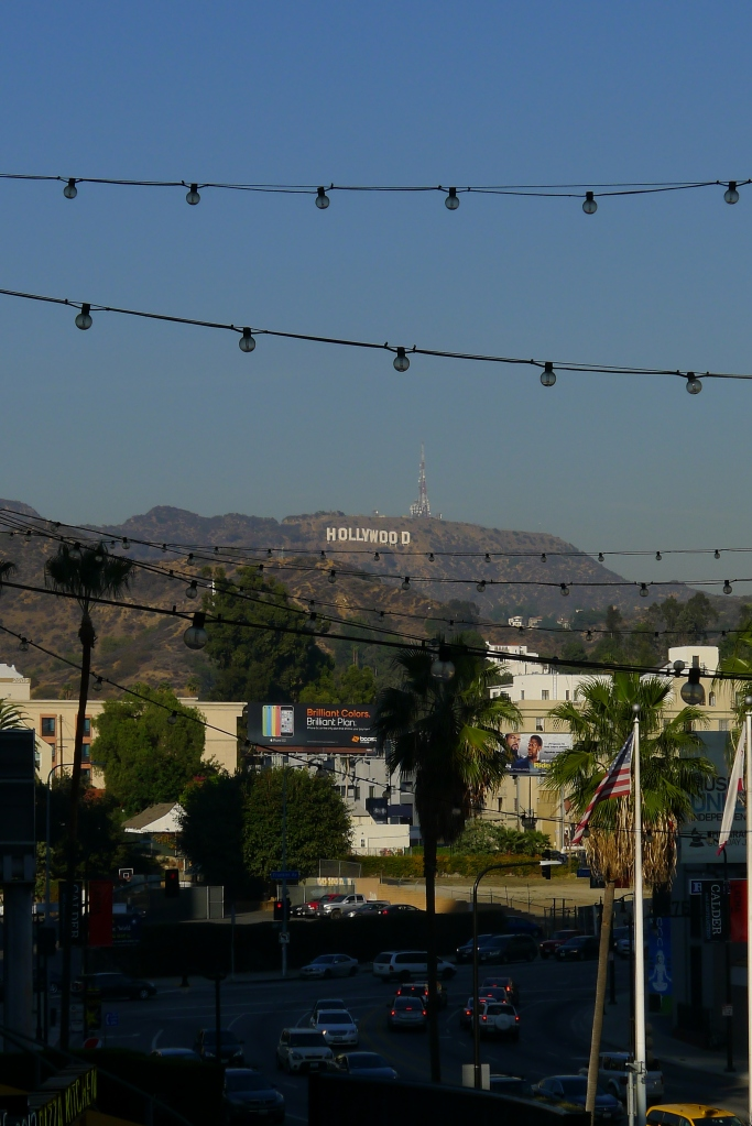 The view of the Hollywood sign just outside our Loews Hollywood Hotel