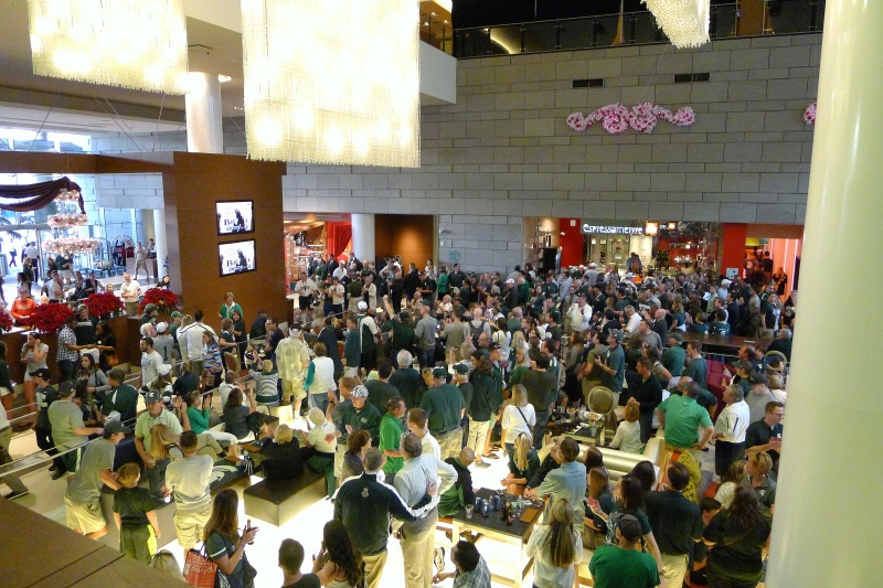 The throngs of Michigan State fans in the J.W. Marriott in downtown L.A.