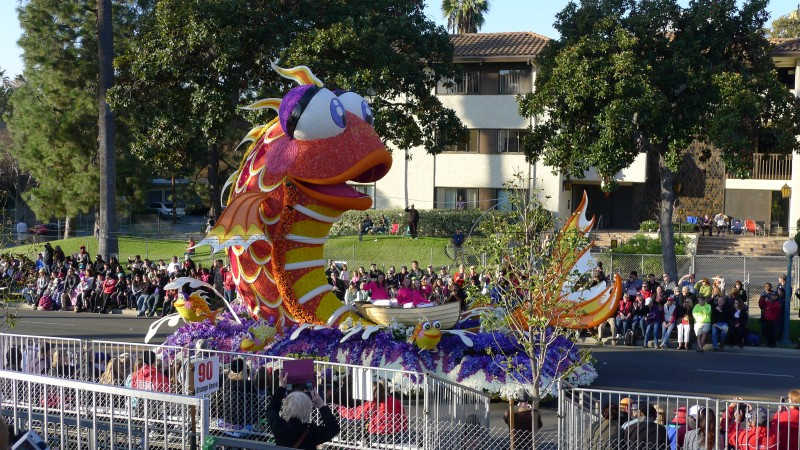 "Sierra Madre's ""Catching the Big One"" float, which won the award for most outstanding city entry."