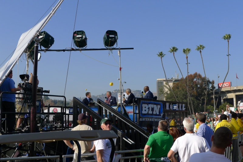 The Big Ten Network broadcast team on the walk into the Rose Bowl Stadium