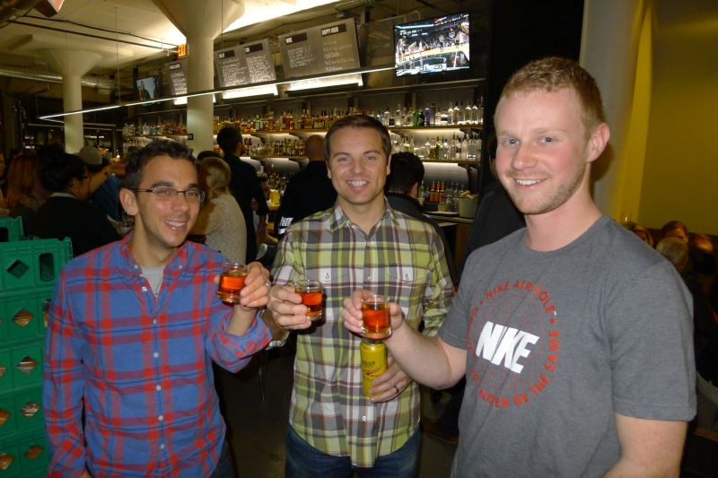 Daniel, Jeff and Dave toasting at Tilt