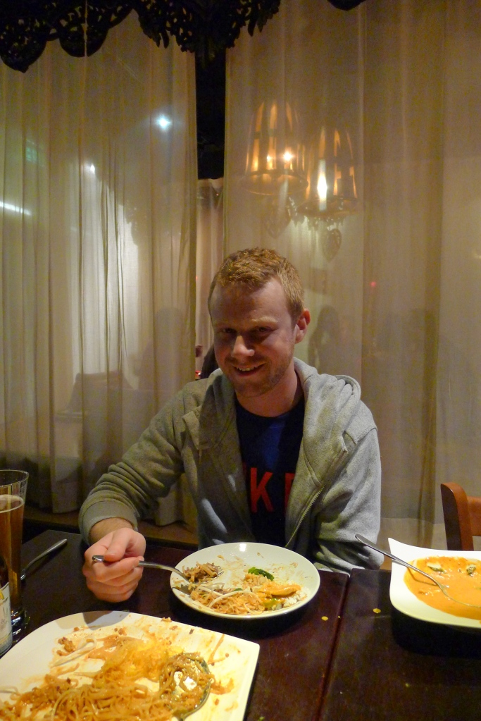 Dave experiencing his first Thai meal at Noi