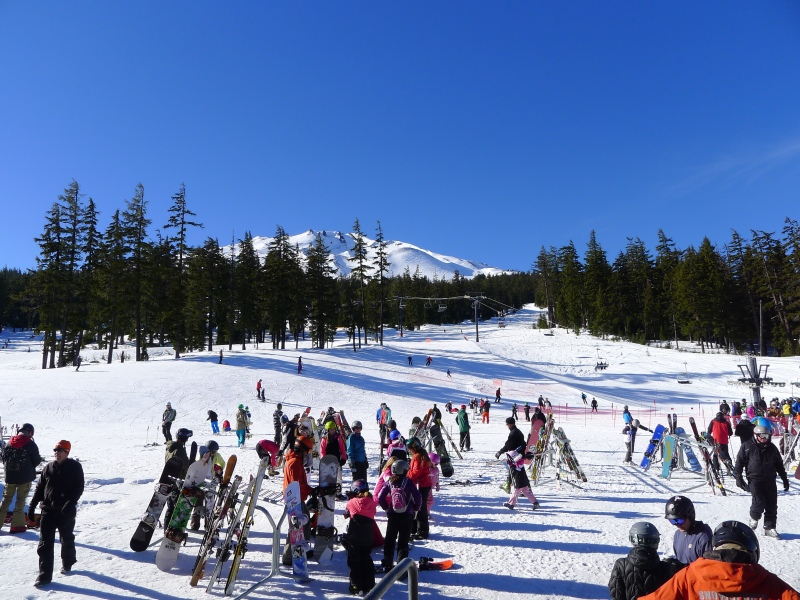 The crowds of skiers and snowboarding at Mt. Bachelor on MLK, Jr. Day