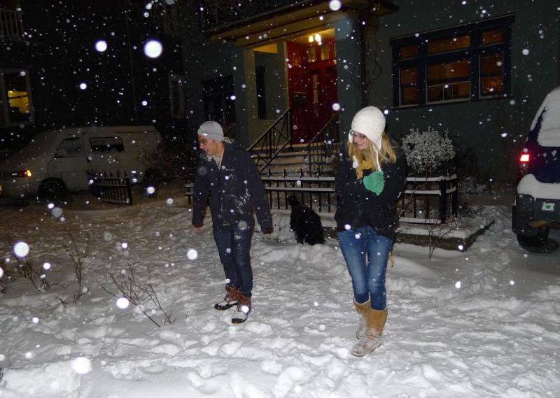 Daniel and Lindsay among the snowflakes