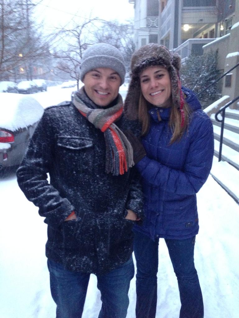 Enjoying our first big snow in Portland