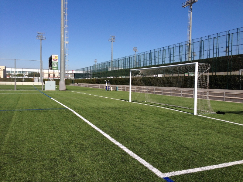 Pristine training field at La Masia