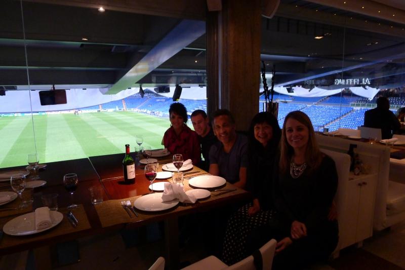 Dinner at the Real Madrid stadium, Santiago Bernabéu Stadium
