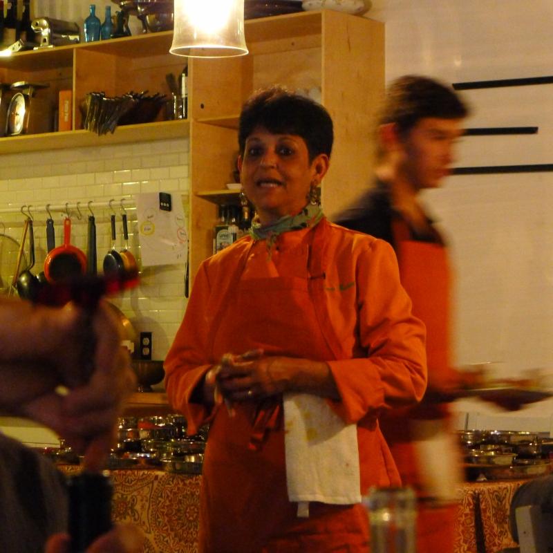 Chef Leena Ezekiel introducing the meal