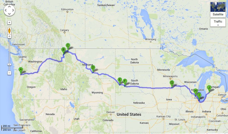 Our road trip route