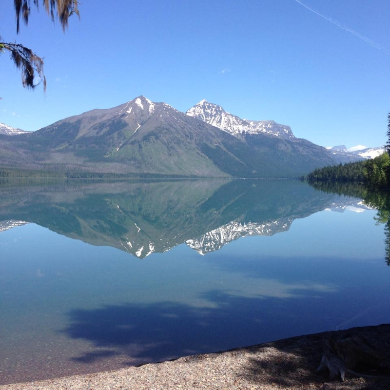 The gorgeous, mirror-like Lake McDonald just off Going-to-the-Sun Road (what a lovely name!) in Glacier National Park