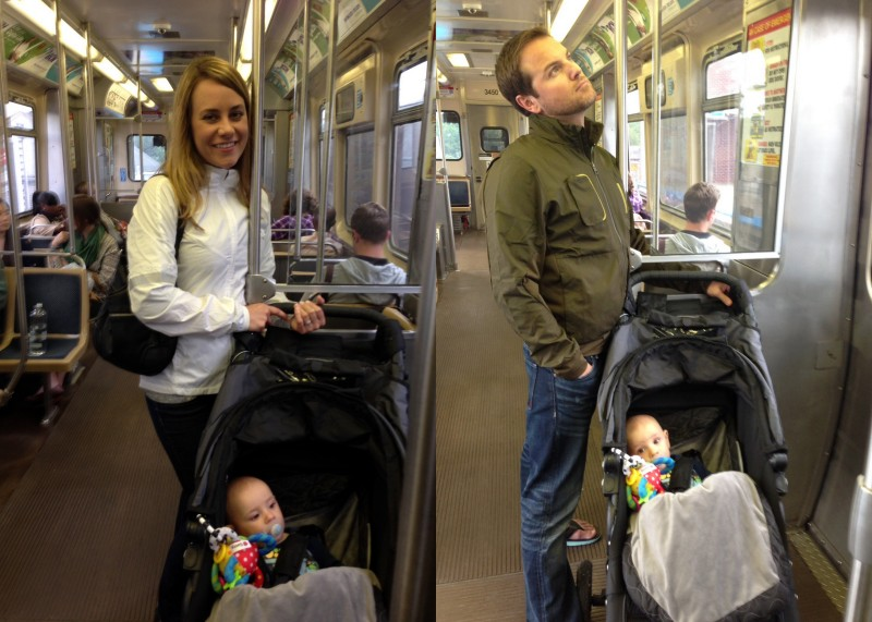 Aunt Kristi and Uncle Jeff taking Ben for a little ride on the L